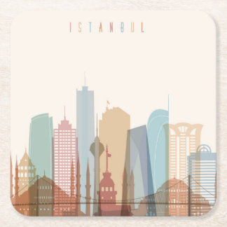 Istanbul, Turkey | City Skyline Square Paper Coaster