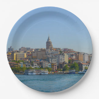 Istanbul Turkey - Galata Tower Paper Plate