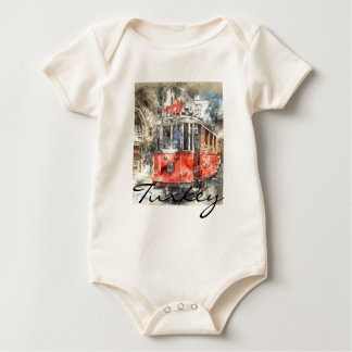 Istanbul Turkey Red Trolley Baby Bodysuit