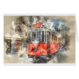 Istanbul Turkey Red Trolley Card