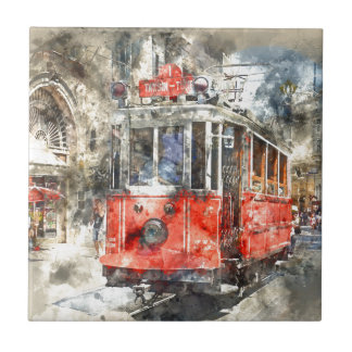 Istanbul Turkey Red Trolley Ceramic Tile