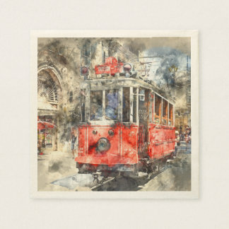 Istanbul Turkey Red Trolley Disposable Napkins