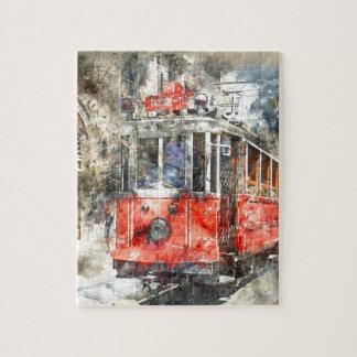 Istanbul Turkey Red Trolley Jigsaw Puzzle