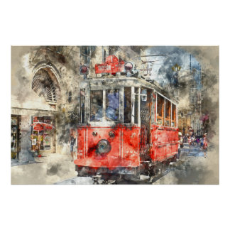 Istanbul Turkey Red Trolley Poster
