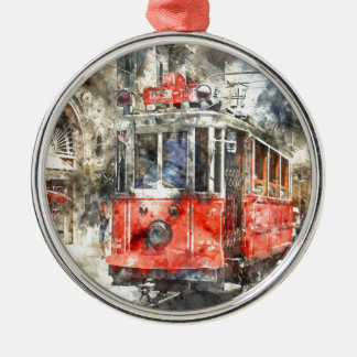 Istanbul Turkey Red Trolley Silver-Colored Round Ornament