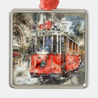 Istanbul Turkey Red Trolley Silver-Colored Square Ornament