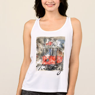 Istanbul Turkey Red Trolley Tank Top