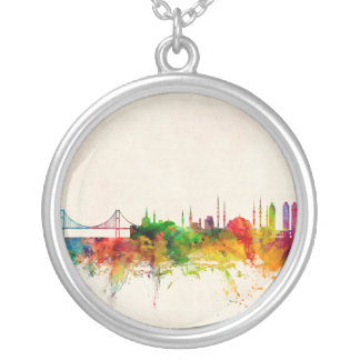 Istanbul Turkey Skyline Silver Plated Necklace