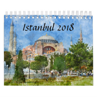 Istanbul Turkey Watercolor 2018 Calendar