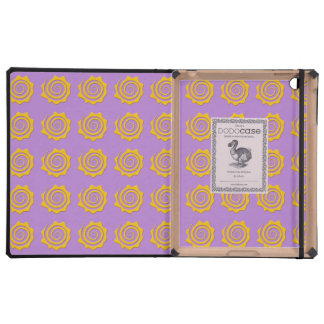 It cheers yellow sun in spiral on violet bottom iPad folio cases