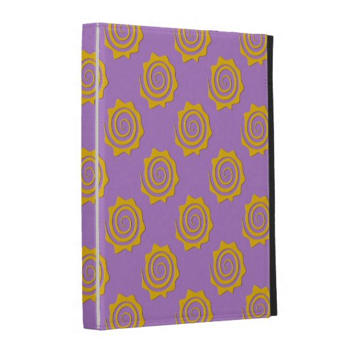 It cheers yellow sun in spiral on violet bottom iPad cases