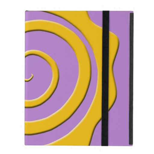 It cheers yellow sun in spiral on violet bottom iPad folio case