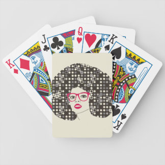 IT girl with sensual red lips and techie afro Bicycle Playing Cards