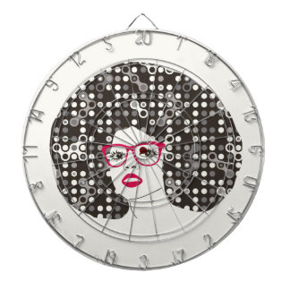 IT girl with sensual red lips and techie afro Dartboard