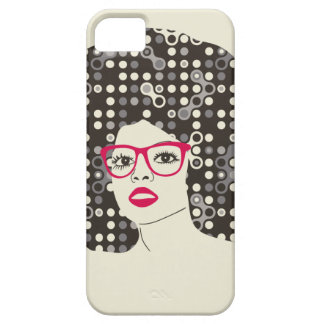IT girl with sensual red lips and techie afro iPhone 5 Cases