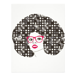IT girl with sensual red lips and techie afro Letterhead Template