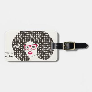 IT girl with sensual red lips and techie afro Luggage Tag
