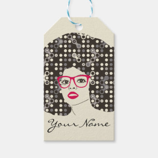 IT girl with sensual red lips and techie afro Pack Of Gift Tags