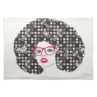 IT girl with sensual red lips and techie afro Placemat
