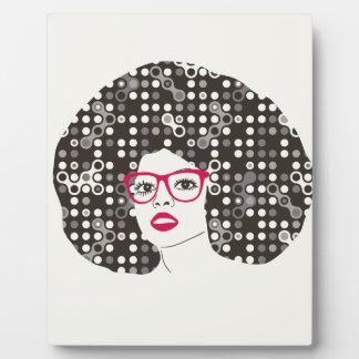 IT girl with sensual red lips and techie afro Plaque