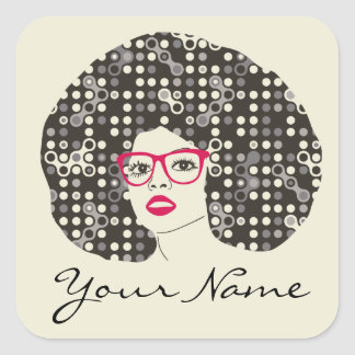 IT girl with sensual red lips and techie afro Square Sticker