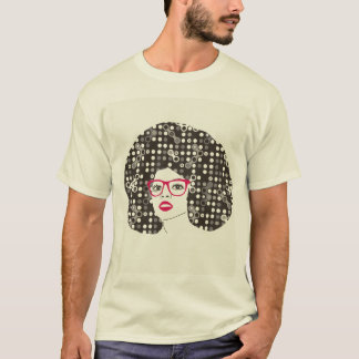 IT girl with sensual red lips and techie afro T-Shirt