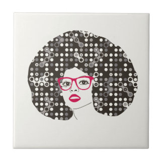 IT girl with sensual red lips and techie afro Tile