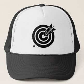 It hits against circularly, the arrow trucker hat