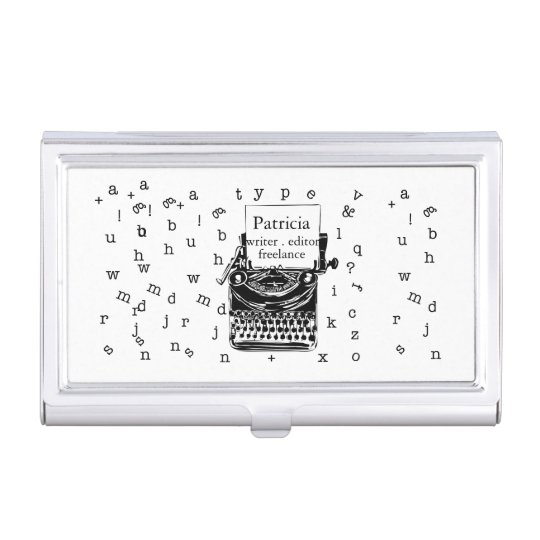 It is a Retro Vintage Cute Typewriter Sketch Business Card Holder