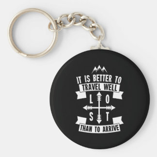It is better to travel well than to arrive keychain