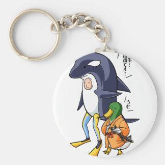 It is turn! Duck teacher! English story Kamogawa Basic Round Button Keychain