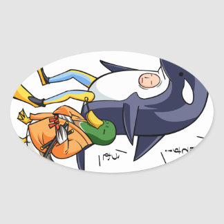 It is turn! Duck teacher! English story Kamogawa Oval Sticker