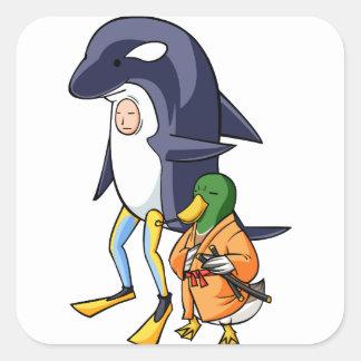 It is turn! Duck teacher! English story Kamogawa Square Sticker