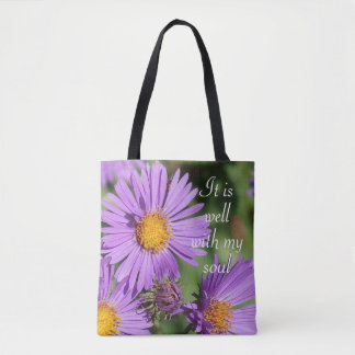 It is Well With My Soul New England Aster Tote Bag