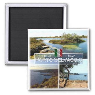 IT # Italy - Apulia - Porto Selvaggio - Square Magnet