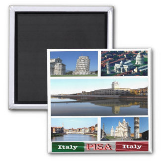 IT - Italy - Pisa - Collage Mosaic Square Magnet
