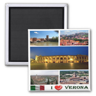 IT - Italy - Verona - I Love - Collage Magnet