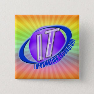 IT LOGO ORB/SWOOSH INFORMATION TECHNOLOGY 2 INCH SQUARE BUTTON