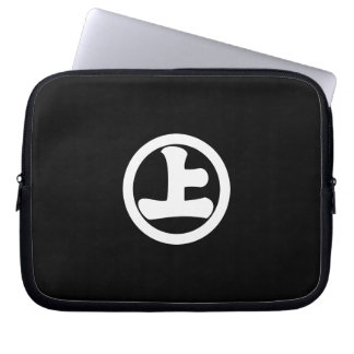 It lowers to the circle, on laptop sleeve