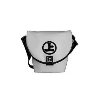It lowers to the circle, on messenger bag
