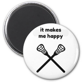 It Makes Makes Me Happy-Lacrosse 2 Inch Round Magnet