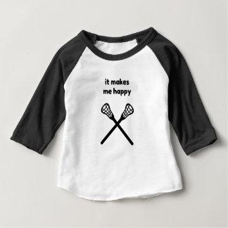 It Makes Makes Me Happy-Lacrosse Baby T-Shirt