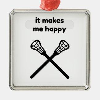 It Makes Makes Me Happy-Lacrosse Metal Ornament