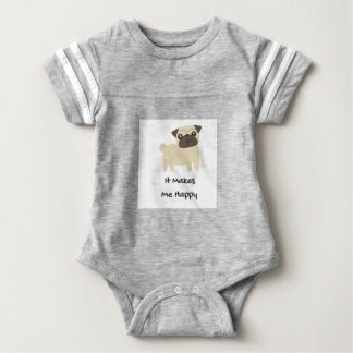 It Makes Me Happy- Pug Baby Bodysuit