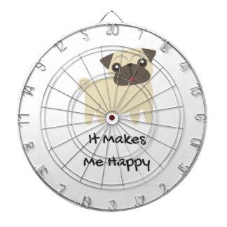 It Makes Me Happy- Pug Dartboard