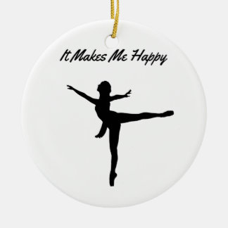 It Makes Me Happy Round Ceramic Ornament