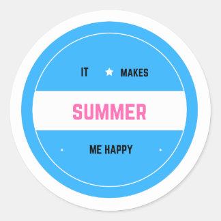 It Makes Me Happy-Summer Round Sticker