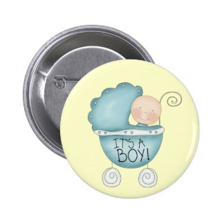 It s a Boy baby carriage Pinback Buttons