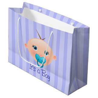 It´s a Boy Baby Face Blue - Large Gift Bag