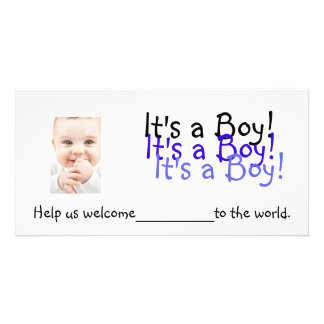 It s a Boy Invitations Personalized Photo Card